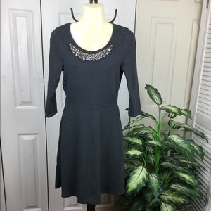 OLD NAVY DARK GREY BEADED NECK SWEATER DRESS